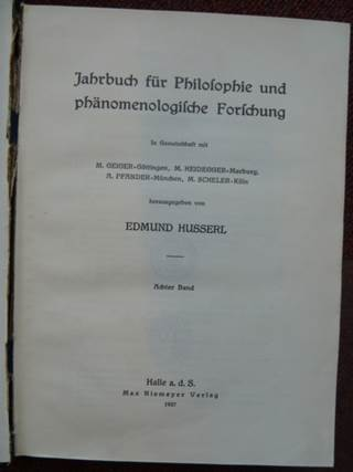 Jahrbuch für Philosophie und phänomenologische Forschung 1927