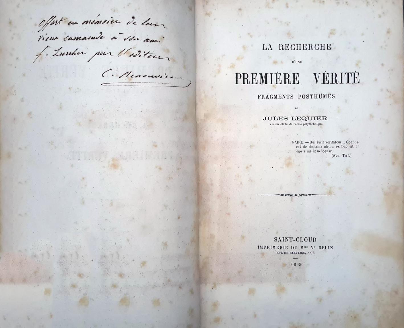 Opdracht en voorblad Lequier